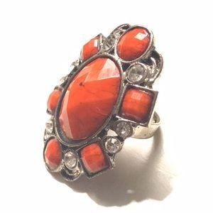 Jewelry - Fashion Ring Orange Stone Diamond Adjuatable 7+